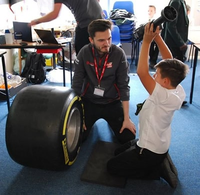F1 Engineers with pupil