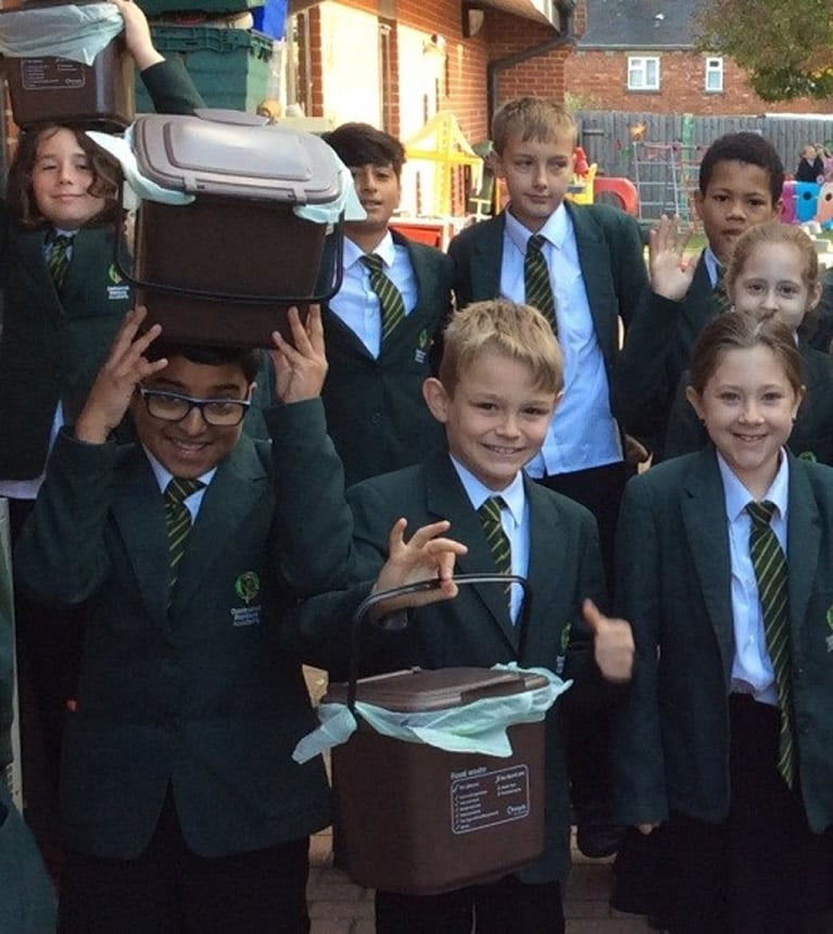 Year 6 Eco-Warriors with compost bins