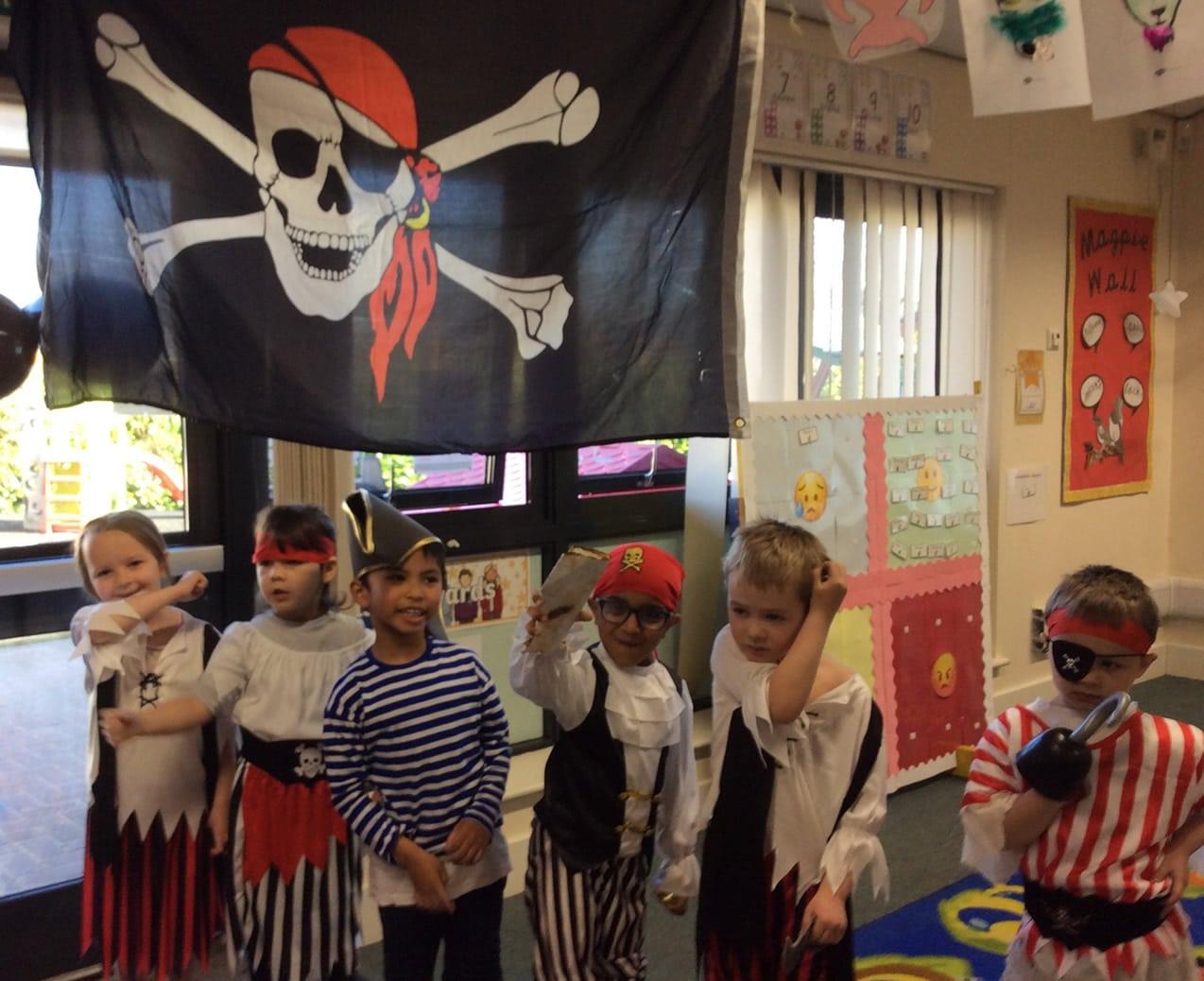 Reception children dressed as pirates