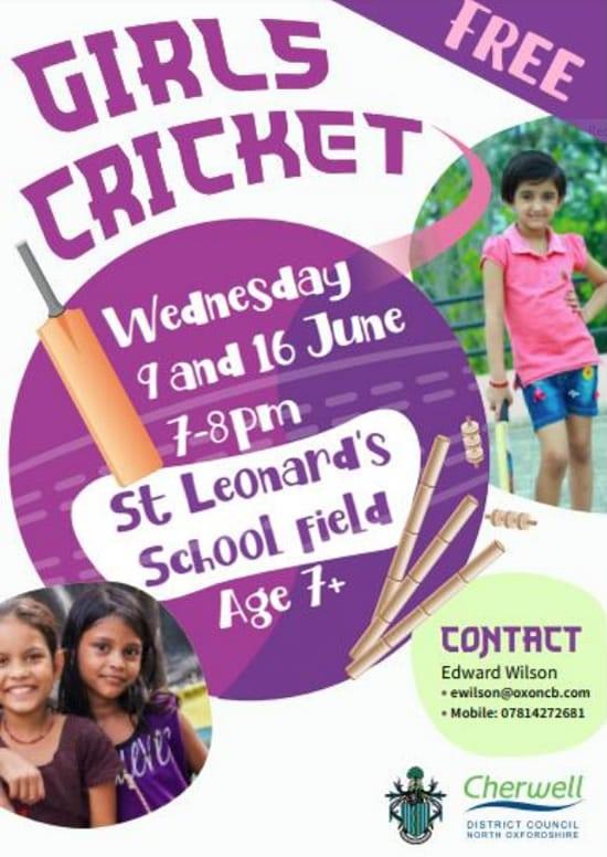 Girls Cricket Cherwell June 2021 poster