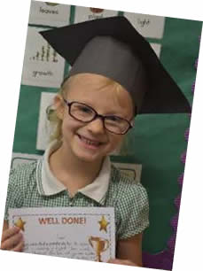 Pupil with Well done certificate